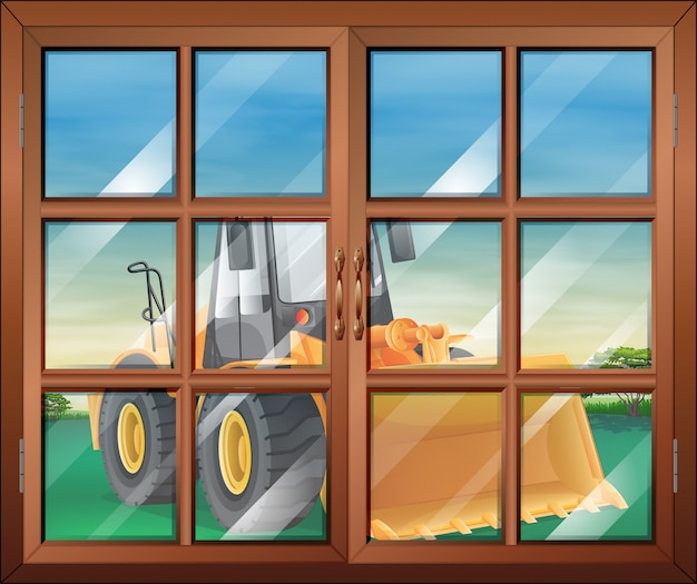 A closed window with a bulldozer