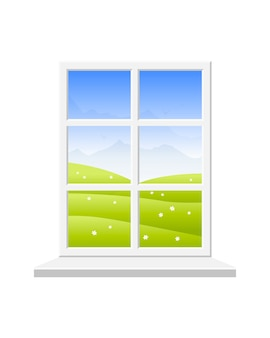 Closed window with white frame for spring landscape.