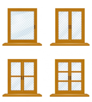 Closed wooden window with transparent glass for design vector illustration