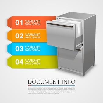 Шкаф-сейф с информацией о документах. векторные иллюстрации