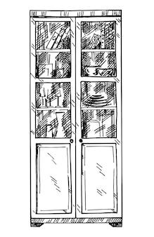 Шкаф эскиз рисованной изолированные