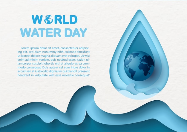 Closeup the blue globe on giant water droplet and abstract blue sea wave in paper cut style with wording of world water day, example texts on white paper pattern background