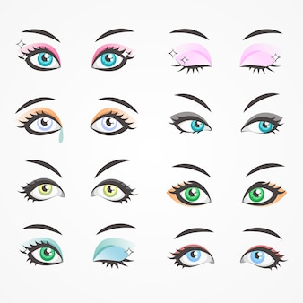Closeup eyes of beautiful women. females eyes