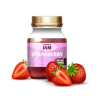 Closeup glass jar with strawberry jam and berries isolated