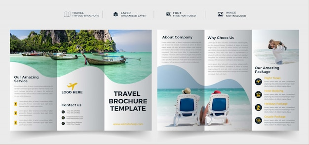 Closeup of hand holding travel trifold brochure