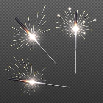 Макрофотография изолированные sparkler блеск бенгальские огни для праздничного декора.