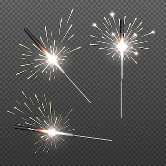 Closeup isolated sparkler shine bengal lights for holiday decor.