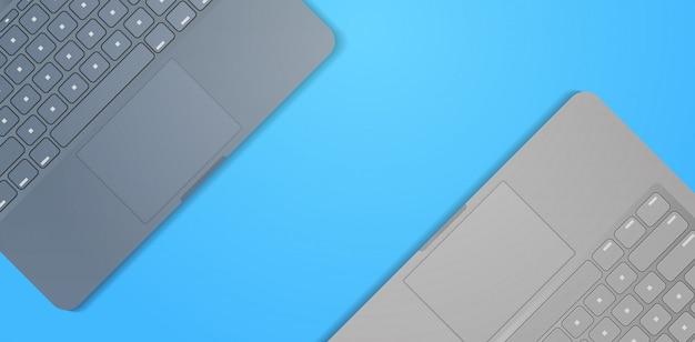 クローズアップノートパソコンのキーボードリアルなモックアップガジェットとデバイス