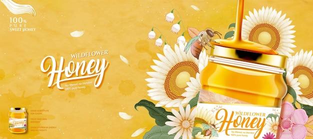 Closeup look at wildflower honey