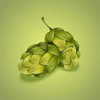 Крупным планом, глядя на зеленый хмель в 3d иллюстрации