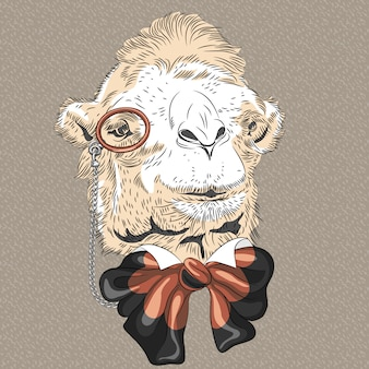 Closeup portrait of funny camel hipster