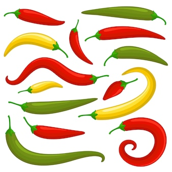 Closeup red green and yellow chilly pepper set