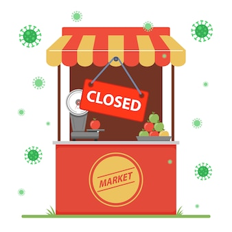 Закрытие малого бизнеса из-за пандемии коронавируса. иллюстрации.