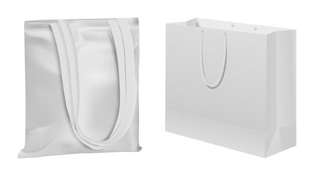 布袋。エコトート、再利用可能なキャンバスバッグ、綿生地の買い物客、エコロジカルテンプレート。 Premiumベクター