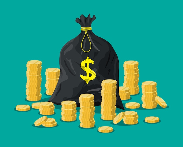 Cloth bag with money. golden coins stacks.