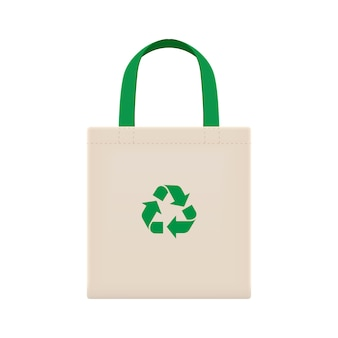 Cloth eco bags blank or cotton yarn cloth bags, empty bags and green recycling symbol