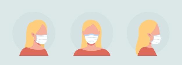 천 마스크 착용자 세미 플랫 컬러 벡터 캐릭터 아바타 세트. 전면 및 측면 보기에서 인공 호흡기와 초상화입니다. 그래픽 디자인 및 애니메이션 팩을 위한 격리된 현대 만화 스타일 그림