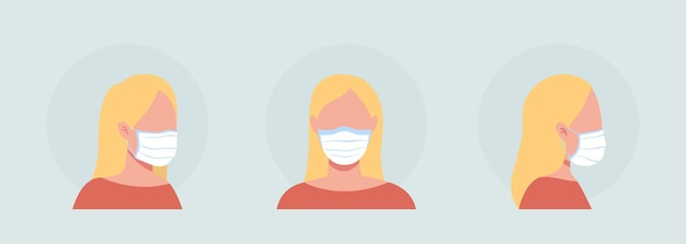 Cloth mask wearer semi flat color vector character avatar set. portrait with respirator from front and side view. isolated modern cartoon style illustration for graphic design and animation pack