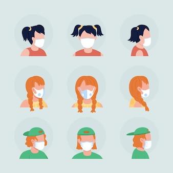 어린이용 세미 플랫 컬러 벡터 캐릭터 아바타 세트용 천 마스크. 전면 및 측면 보기에서 인공 호흡기와 초상화입니다. 그래픽 디자인 및 애니메이션 팩을 위한 격리된 현대 만화 스타일 그림