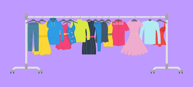 Clothes and accessories fashion icon set. new fashion collection. men and women casual clothes on a hanger in store. seasonal sale concept.