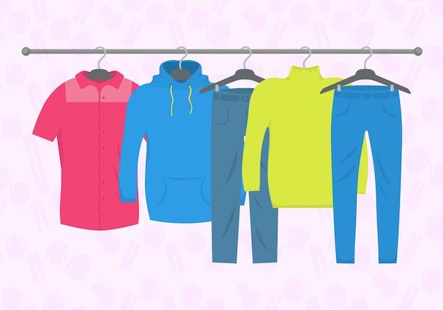 服やアクセサリーファッションのアイコンを設定します。新しいファッションコレクション。店内のハンガーに男女カジュアル。季節の販売コンセプト。フラットプレーンスタイルのイラスト。