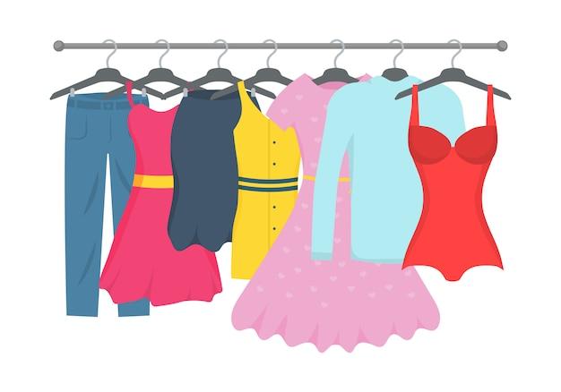 服やアクセサリーファッションのアイコンを設定します。新しいファッションコレクション。店内ハンガーに男女カジュアル。季節の販売コンセプト。フラットプレーンスタイルのイラスト。