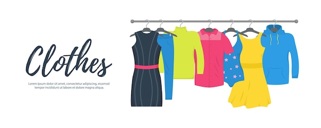 服やアクセサリーファッションアイコンセット。新しいファッションコレクション。