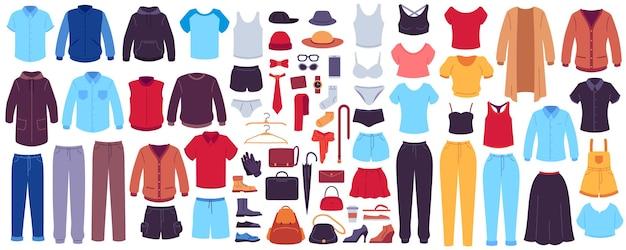 의류 및 액세서리. 패션 여성과 남성의 계절 의상, 옷, 신발, 가방, 액세서리, 현대적인 캐주얼 드레스 벡터 세트. 패션 여성 셔츠와 재킷, 양복과 치마 그림