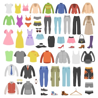 의류 및 액세서리. 남성과 여성은 현대적인 캐주얼 옷장, 다양한 기본 및 스포츠 의류, 스타일 신발, 가죽 가방 부츠 및 액세서리, 쇼핑 벡터 플랫 격리 세트를 패션합니다.