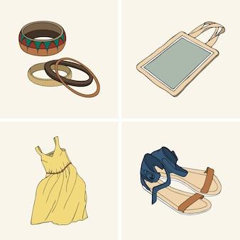 服やアクセサリー。