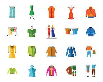 Clothes and fashion icon set