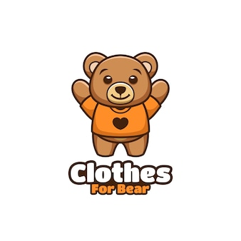 Clothes for bear kawaii cartoon illlutsration