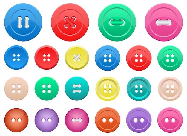 Набор кнопок одежды, изолированные на белом фоне