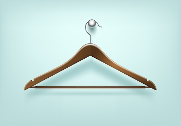 Clothes coat brown wooden hanger close up isolated