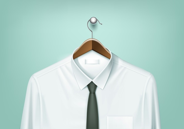 Clothes coat brown wooden hanger with white shirt and black tie close up isolated on background