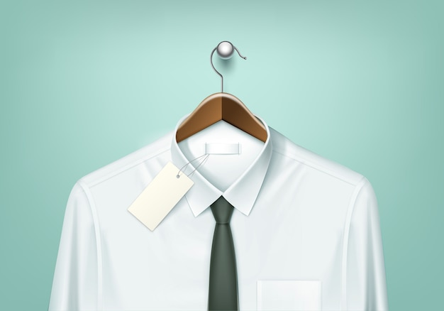 Clothes coat brown wooden hanger with white shirt and black tie with blank tag label close up isolated on background