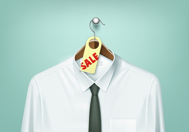 Clothes coat brown wooden hanger with white shirt and black tie with sale tag label close up isolated on background