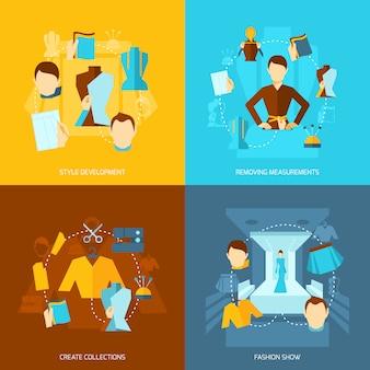 Composizione di elementi di designer di vestiti piatta