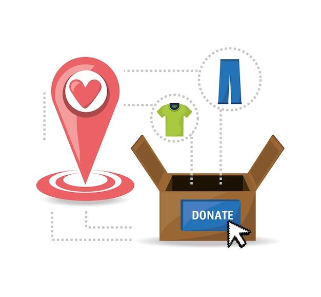 사람들의 자선 단체에 옷 기부 지원