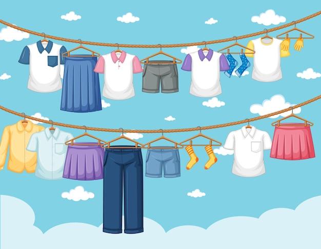 Сушка одежды и висит открытый фон