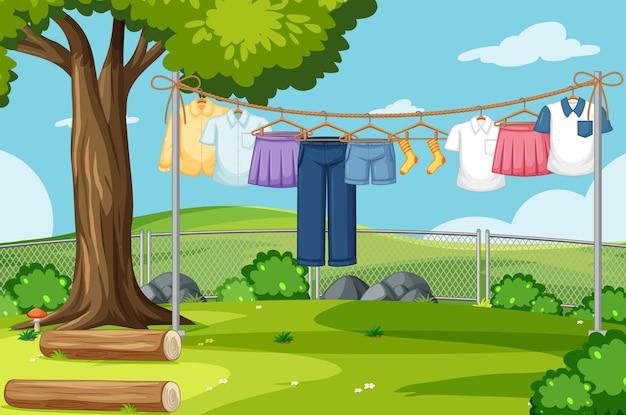 衣類乾燥と屋外の背景をぶら下げ