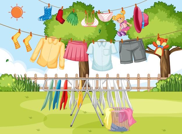 衣類の乾燥と屋外での吊り下げ