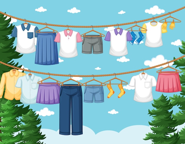 Clothes drying and hanging outdoor