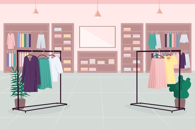 옷 백화점 플랫 컬러. 백화점. 쇼핑몰. 천 부티크. 옷 선반, 옷걸이, 배경에 거울이있는 패션 매장 2d 만화 인테리어