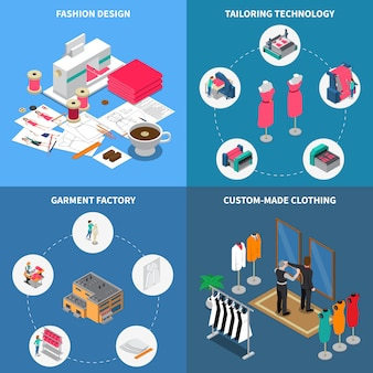Clothes factory isometric i set with garment symbols isolated illustration