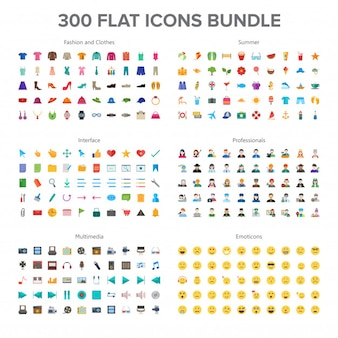Clothes & fashion, multimedia, summer, professionals and emoticons 300 flat icons bundle