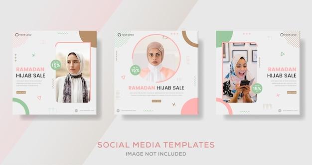 히잡 이슬람 배너 템플릿 게시물 의류 패션 판매