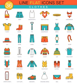 Clothes flat line icons set
