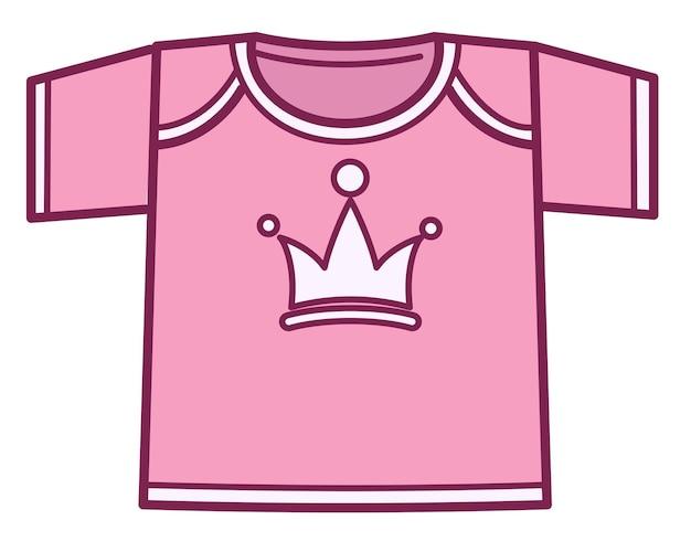 女の子のための服、プリントまたは王冠のピンクのシャツの孤立したアイコン。リトルプリンセスの衣装、小さな赤ちゃんやティーンエイジャーのための服。子供向けのスタイリッシュなミニマリストアパレル。子供のファッション、ベクトル