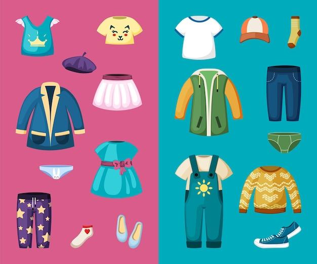 어린 소년과 소녀를 위한 옷 세트. 유아용 스타일리시한 점프수트와 드레스 아름다운 티셔츠와 스웨터 컬러풀한 디자인으로 귀엽고 모던한 스타일로 즐거운 아이들을 위한 것입니다. 벡터 만화 패션입니다.